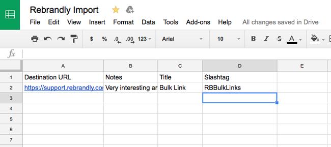 Zapier: Import Links from Google Sheet Spreadsheet – Rebrandly