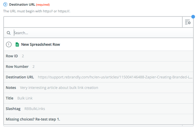 Zapier: Import Links from Google Sheet Spreadsheet – Rebrandly